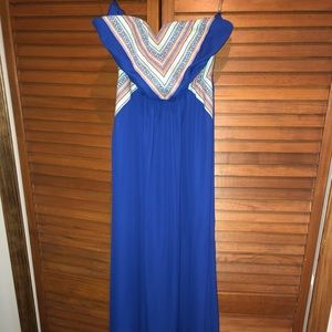 Royal Blue Maxi Dress with Tribal Print detail L